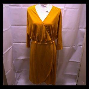 NWT A new day gold wrap around dress size XL